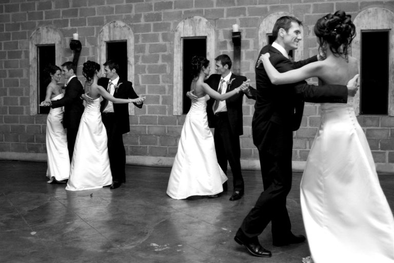 A bride and groom opening the dance floor